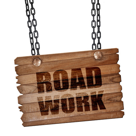road work: road work, 3D rendering, hanging sign on a chain