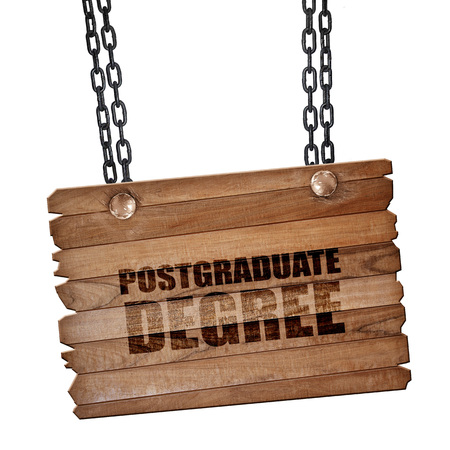 postgraduate: postgraduate degree, 3D rendering, hanging sign on a chain