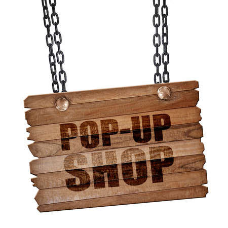 tienda pop-up, 3D, colgando signo en una cadena Foto de archivo