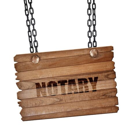 certify: notary, 3D rendering, hanging sign on a chain