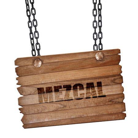 perl: mezcal, 3D rendering, hanging sign on a chain