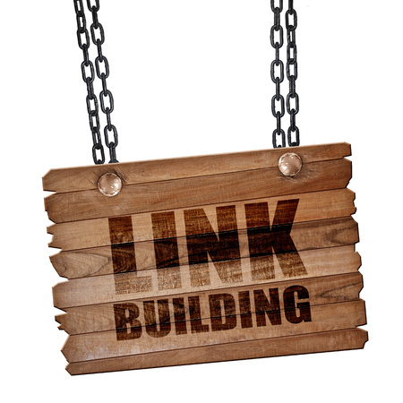 building a chain: link building, 3D rendering, hanging sign on a chain