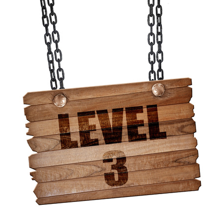 xp: level 3, 3D rendering, hanging sign on a chain Stock Photo
