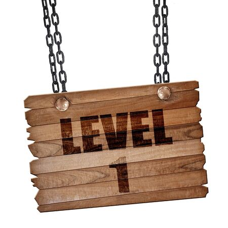 xp: level 1, 3D rendering, hanging sign on a chain