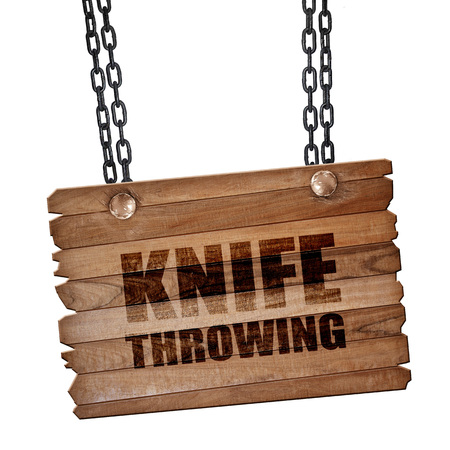 throwing knife: knife throwing, 3D rendering, hanging sign on a chain Stock Photo