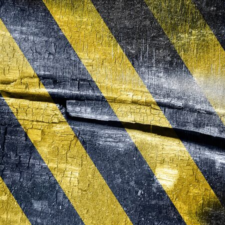 tarmac: Black and yellow hazard lines with clean lines Stock Photo