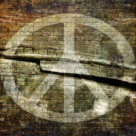 flowerpower: Peace symbol on grunge wall