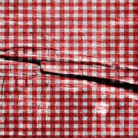 lineas rectas: Red picnic tejido con l�neas rectas en el mismo Foto de archivo