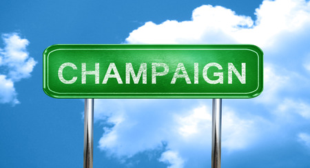 champaign: champaign city, green road sign on a blue background Stock Photo