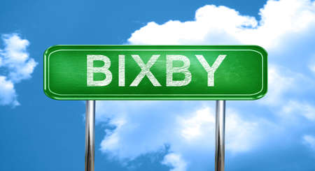 bixby: bixby city, green road sign on a blue background