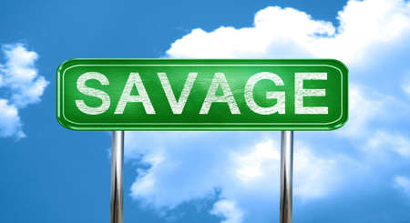 savage: savage city, green road sign on a blue background Stock Photo