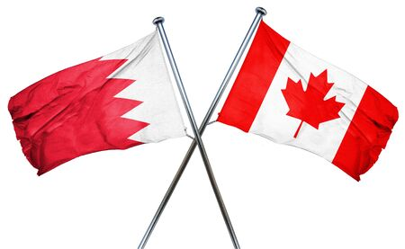 isolation backdrop: Bahrain flag combined with canada flag Stock Photo