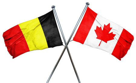 isolation backdrop: Belgium flag combined with canada flag Stock Photo