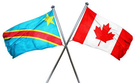 democratic: Democratic republic of the congo flag combined with canada flag Stock Photo