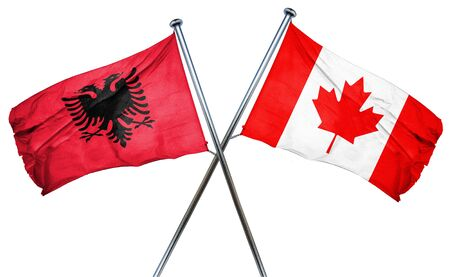 isolation backdrop: Albania flag combined with canada flag