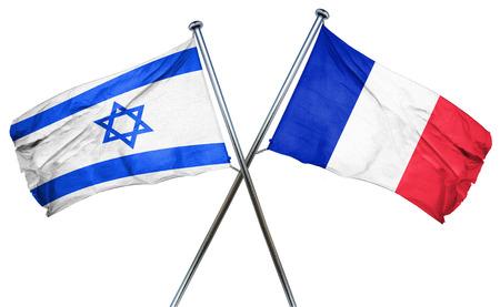De vlag van Israël in combinatie met de vlag van frankrijk Stockfoto