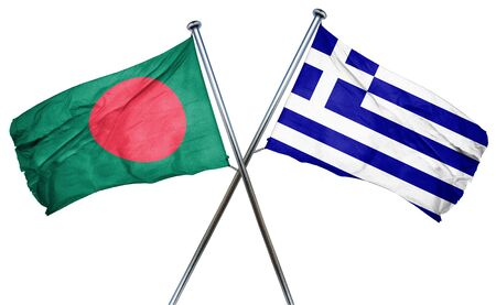greek flag: Bangladesh flag combined with greek flag Stock Photo
