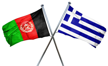 isolation backdrop: Afghanistan flag combined with greek flag