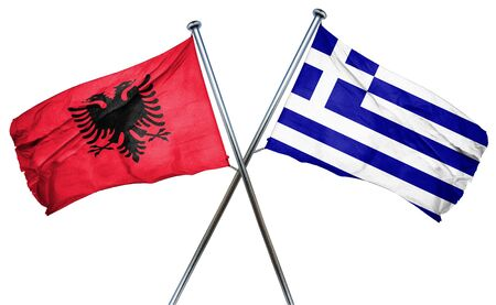isolation backdrop: Albania flag combined with greek flag Stock Photo