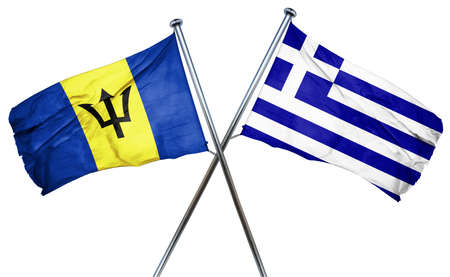 isolation backdrop: Barbados flag combined with greek flag
