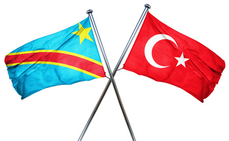 turkey flag: Democratic republic of the congo flag combined with turkey flag Stock Photo