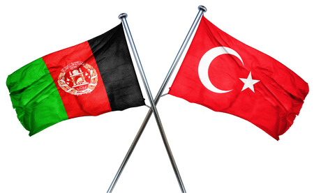 afghanistan flag: Afghanistan flag combined with turkey flag Stock Photo