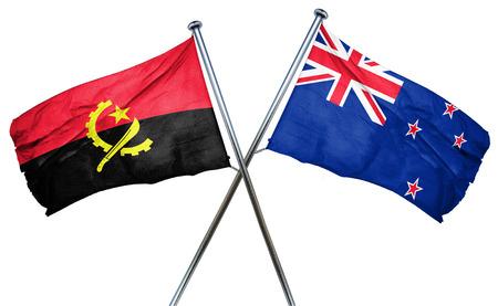 isolation backdrop: Angola flag combined with new zealand flag
