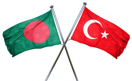 isolation backdrop: Bangladesh flag combined with turkey flag