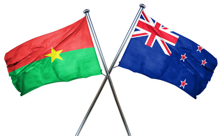 treaty: Burkina Faso flag combined with new zealand flag Stock Photo