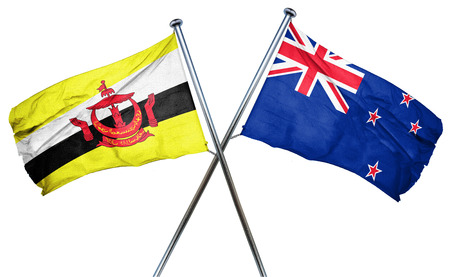 combined: Brunei flag combined with new zealand flag Stock Photo