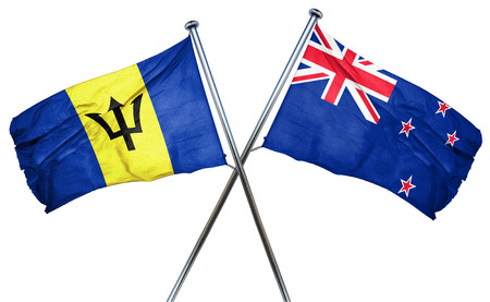 combined: Barbados flag combined with new zealand flag Stock Photo