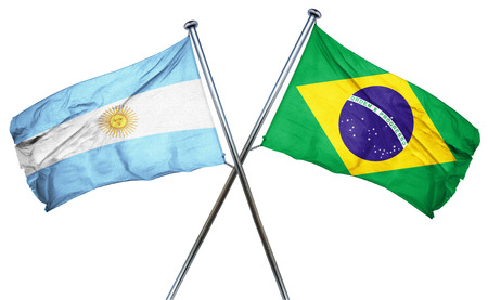 isolation backdrop: Argentina flag combined with brazil flag Stock Photo