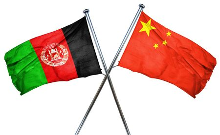 afghan: Afghanistan flag combined with china flag Stock Photo