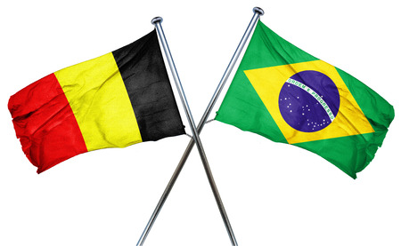 isolation backdrop: Belgium flag combined with brazil flag