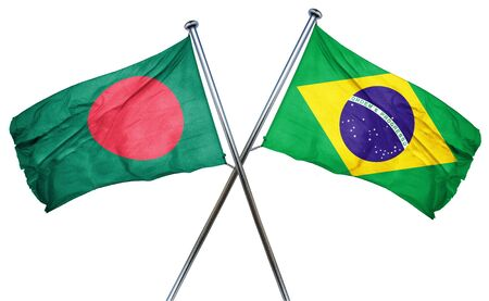 amity: Bangladesh flag combined with brazil flag Stock Photo