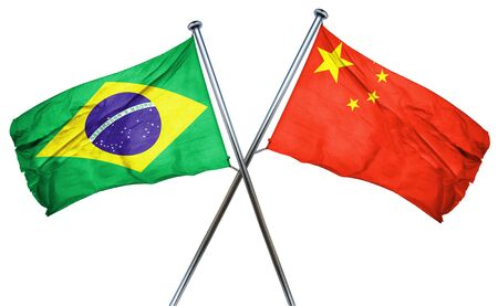 brasil: Brasil flag combined with china flag Stock Photo