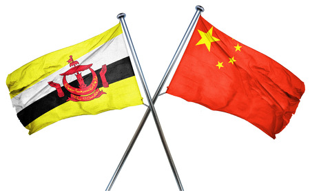 treaty: Brunei flag combined with china flag Stock Photo
