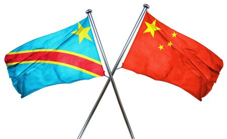 democratic: Democratic republic of the congo flag combined with china flag Stock Photo