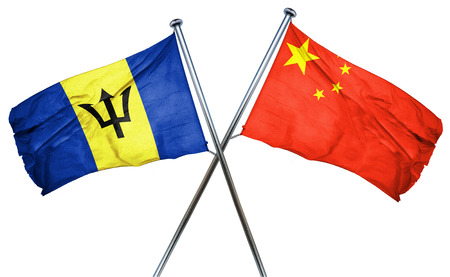 isolation backdrop: Barbados flag combined with china flag