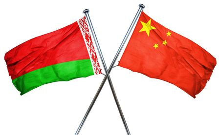 isolation backdrop: Belarus flag combined with china flag