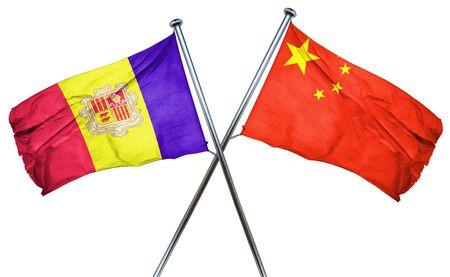 isolation backdrop: Andorra flag combined with china flag Stock Photo