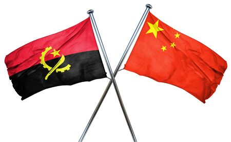 amity: Angola flag combined with china flag Stock Photo