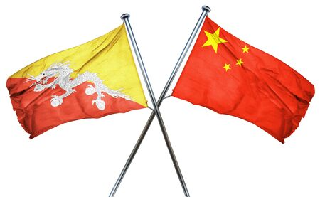 treaty: Bhutan flag combined with china flag