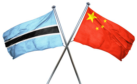 amity: Botswana flag combined with china flag Stock Photo