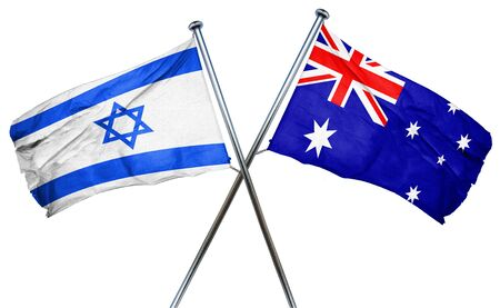combined: Israel flag combined with australian flag Stock Photo