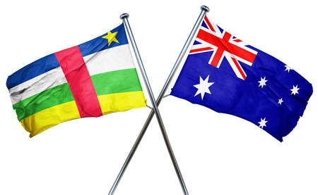 amity: Central african republic flag combined with australian flag Stock Photo