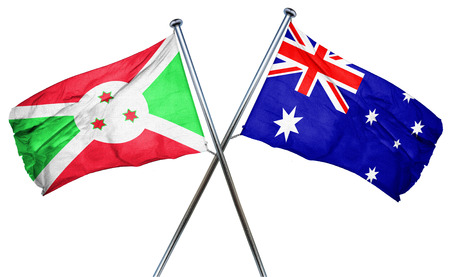 amity: Burundi flag combined with australian flag Stock Photo