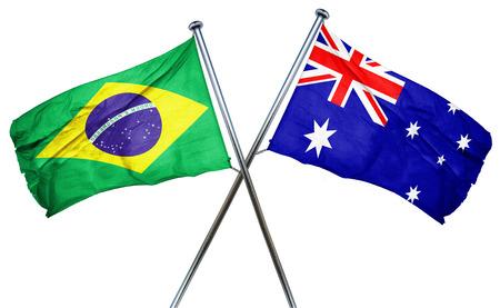 isolation backdrop: Brasil flag combined with australian flag