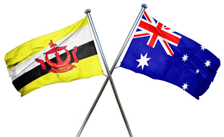 amity: Brunei flag combined with australian flag Stock Photo