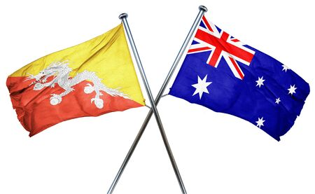 isolation backdrop: Bhutan flag combined with australian flag Stock Photo